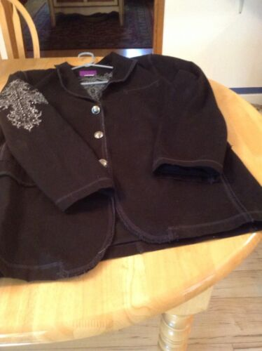 Men's black blazer with embroidery, Grommit & stit