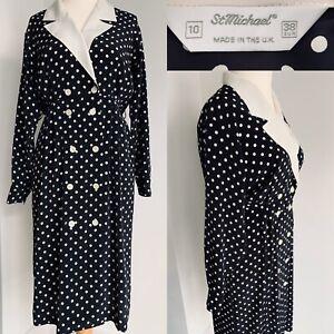 St Michael Vintage Black White Midi Dress Polka Dot Chiffon Button Up Size 10