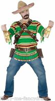 Mens Mexican Tequila Sombrero Poncho Bottle Holster Fancy Dress Costume Outfit