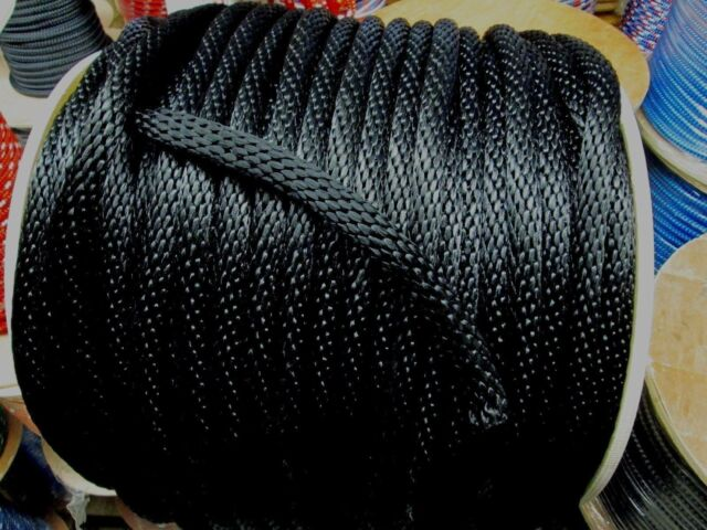 """anchor rope, dock line, 1/4""""  X 96' BLACK Nylon ROPE Made in USA"""