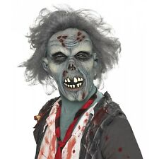 Mens Decaying Zombie Mask Overhead Tinted Skin Hair Scary Halloween Party Props