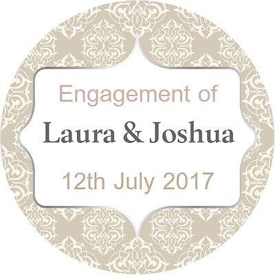 Qualità Gloss Personalizzato Fidanzamento Matrimonio Adesivi Beige E Argento-