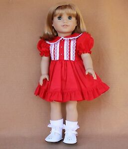 84414f0642cbe Details about Doll SET fitting 18 in & American Girl Dolls Red Dress White  Shoes & Socks!