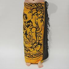 NEW UNISEX MENS WOMENS YELLOW GOLD BLACK SARONG BEACH POOL WRAP COVER UP / sa013