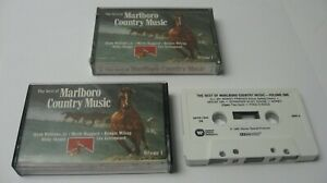 2-LOT-Vintage1985-Best-Of-Marlboro-Country-Music-Vol-1-Cassettes-Hank-Merle-MORE