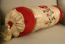 Bolster Cushion Throw Pillow Embroidered Flower Regency Filled 43cms NEW