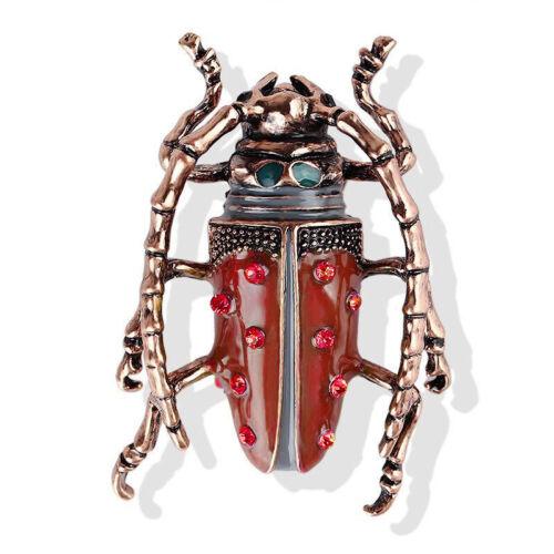 Broche Doré Art Deco Scarabée Insecte Email Vert Rouge Art Nouveau XZ15
