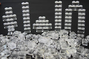 LEGO-New-Lot-25-Clear-Transparent-Wall-Elements-1x2-brick-Trans-White-Window