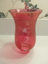 "Vintage Ruby Flash Cut to Clear Kerosene Oil Lamp Chimney 6.5"" High"