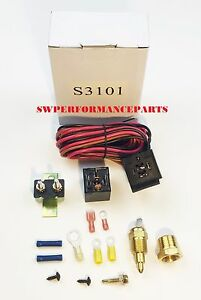 electric fan wire harness kit complete thermostat 50 amp relay 200 image is loading electric fan wire harness kit complete thermostat 50