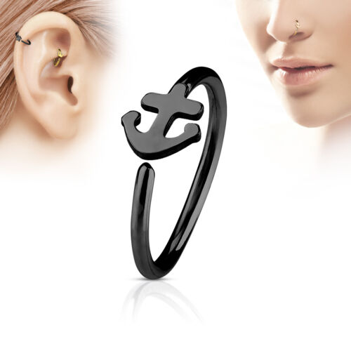1pc Bendable Steel Hoop Nose Cartilage Ring Anchor Rook Daith Helix Tragus