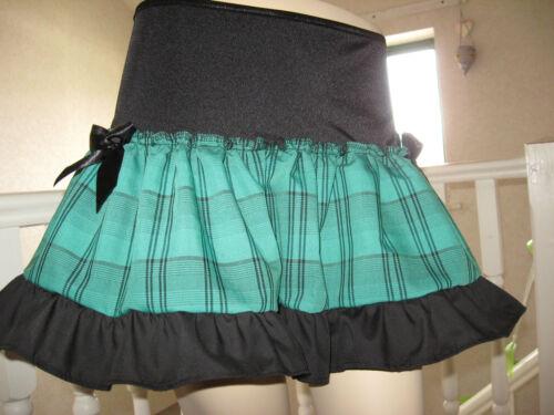 NEW  Black Green tartan check Mini skirt Gothic Rock Punk Lolita Party All sizes