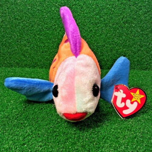 FREE Shipping MWMT 1999 Ty Beanie Baby Lips The Clown Fish Retired Plush Toy