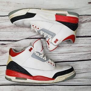 a6afa2757bca7 NIKE AIR JORDAN 3 FIRE RED CEMENT GREY 2007 RETRO III Size 10.5 ...