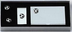 Football Ball Gift Set Card Holder, Money Clip, Cufflinks Player Clearance Line GroßEr Ausverkauf