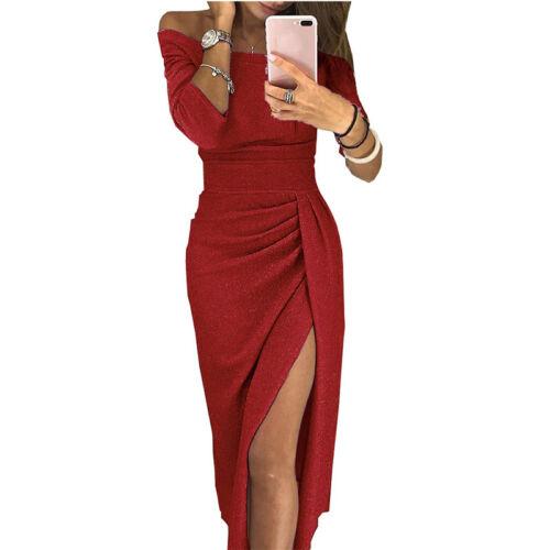 Women Off Shoulder Long Sleeve Dress Bodycon Evening Prom Party Split Long Dress