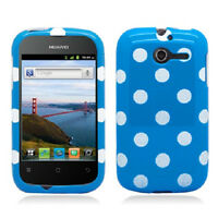 For Huawei Ascend Y H866c Hard Case Snap On Phone Cover Blue Polka Dots