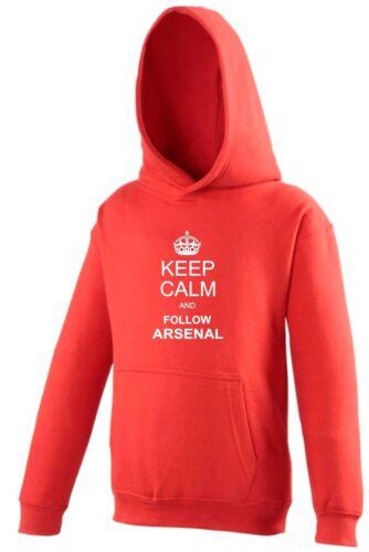 Restez calme et suivez Arsenal ventilateur Sweat à capuche enfants
