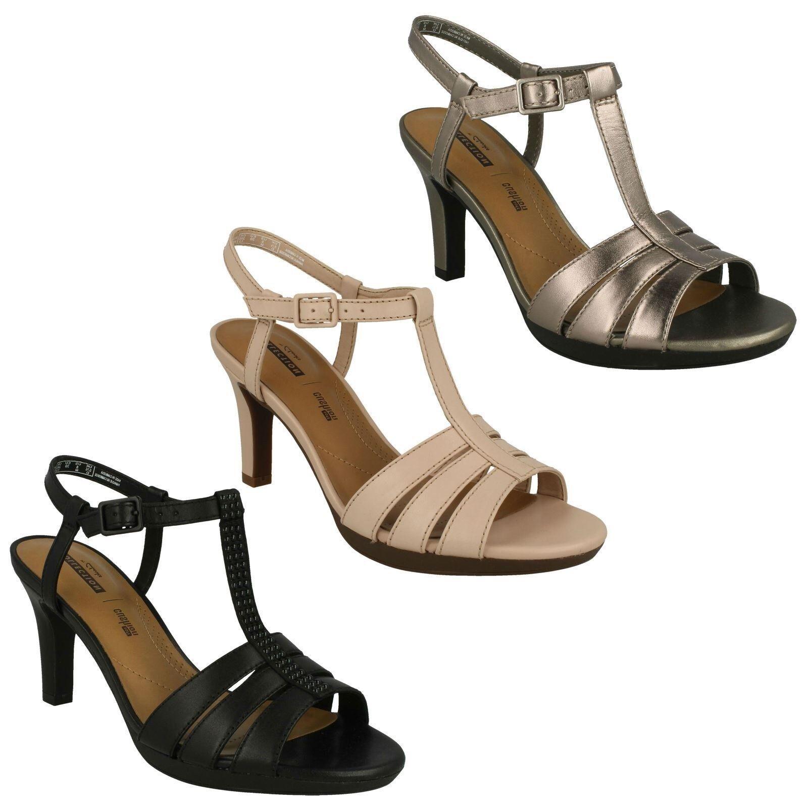 Damen Schnalle Clarks Leder Riemen Absatz Schnalle Damen Smart Sandalen Schuhe Adriel Tevis f0065e