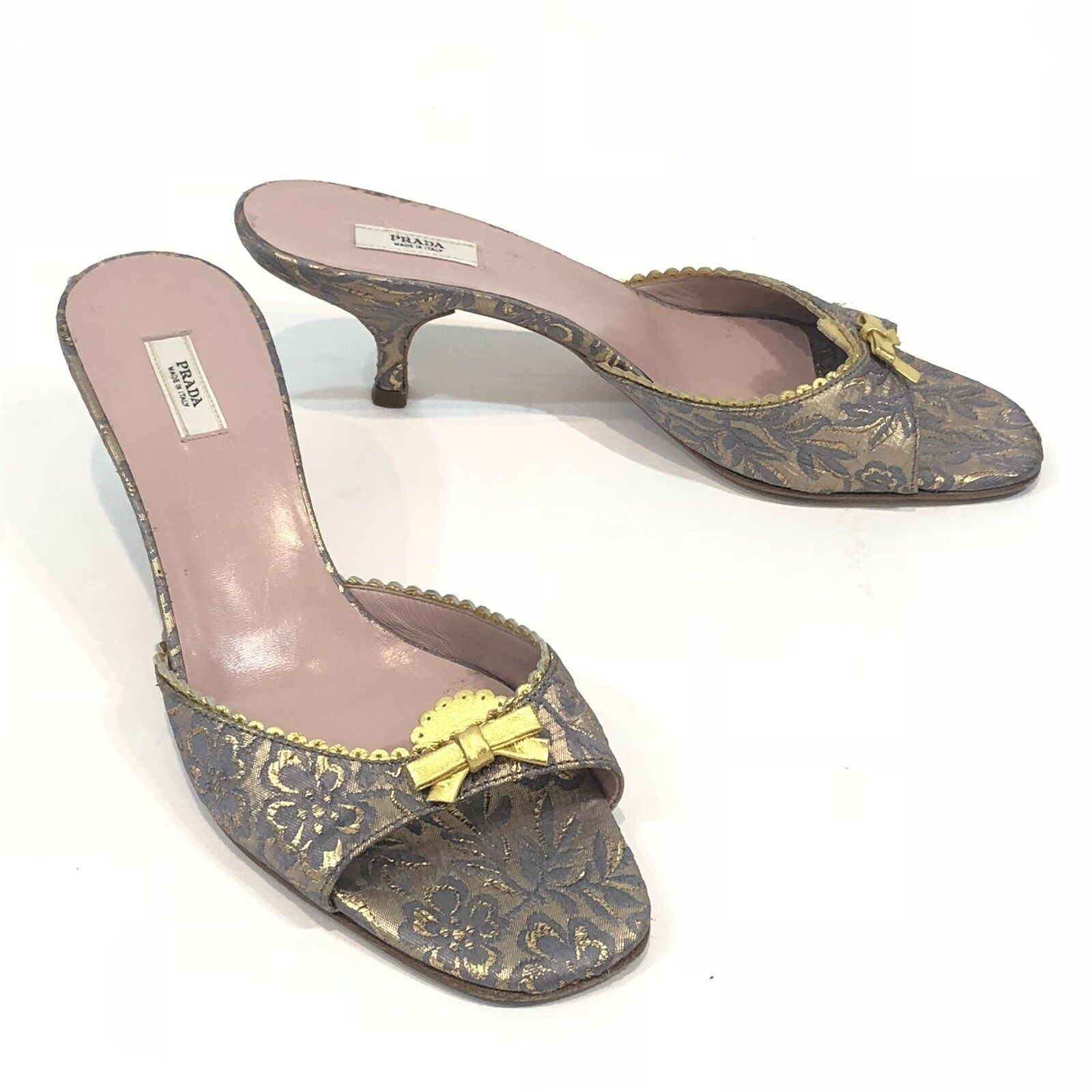 Vintage  PRADA kitten heels Mules Slip On size 35.5 Open Toe