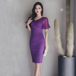 Elegante Moda Scollo Tubino Slim 4922 Manica Viola Vestito Corto Morbido Abito qOTfUqZWt