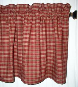 Berry Red Plaid Valance Tiers Primitive Country Curtains Runner Kitchen Valance