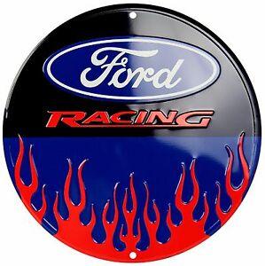 "Ford Flames Racing Embossed Metal 12/"" Circle Sign"