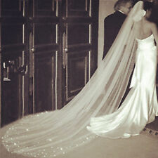2016 Long white 1T Cathedral Wedding Veil Crystal Simple With Comb Veils  222333