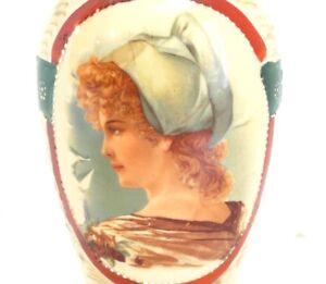 Antique-Victorian-BRISTOL-Portrait-Vase-Moriage-Hand-Painted-Red-Head-Bonnet-Gir