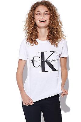 New CALVIN KLEIN Womens CK Logo Tee White