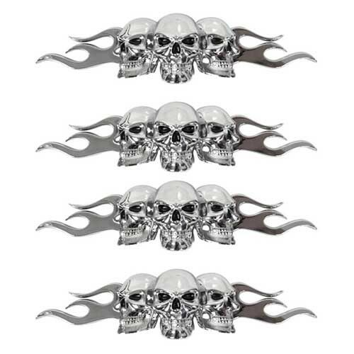 4 Chrome 3D Skull And Flames Black Eyes Emblem 3M Self Adhesive 3 D Decal Logo