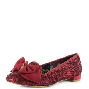 Image is loading Womens-Irregular-Choice-Sulu-Red-Glitter-Flat-Ballerina- 44b4021611