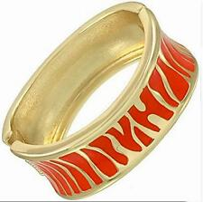 Coral Gold Bangle Bracelet Zebra Animal Print Enamel Metal Hinged Women Fashion