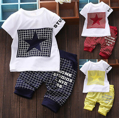Baby Boy Kid 2 Piece STAR Sportswear Clothes T-shirt Top Short Pants Outfit Set