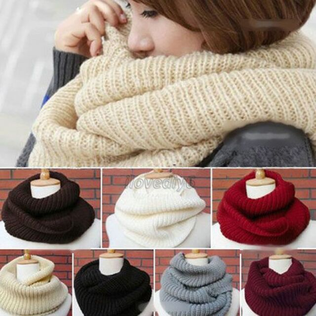 Women Men 2 Circles Winter Warm Infinity Cable Knit Cowl Neck Long Scarf Shawl
