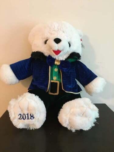 "Walmart 2018 Stuffed 20""Christmas Plush White Teddy Bear Boy Blue Outfit"