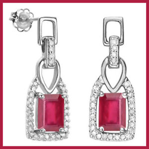 PAIR-OF-1-3-5-CARAT-AFRICAN-RUBY-STUD-EARRINGS-925-STERLING-SILVER-New-Earring