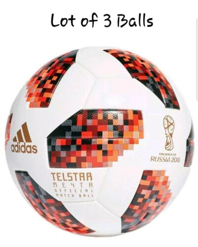 LOT OF 3 WORLD CUP 2018 RUSSIA ADIDAS TELSTAR KNOCKOUT OMB SOCCER BALLS