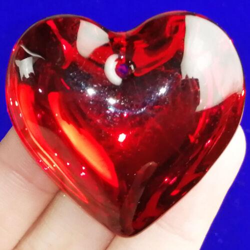1Pcs red Titanio Cristal Corazón Colgante Perla 45x45x15mm C59