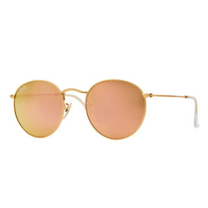 24d617660a54 Ray-Ban Round Metal RB3447 112 Z2 50mm Pink Flash Lens Gold Frame ...