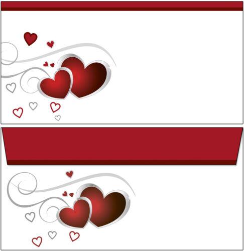50 Briefumschläge Motiv rote Herzen liebe Hochzeit Love DIN lang