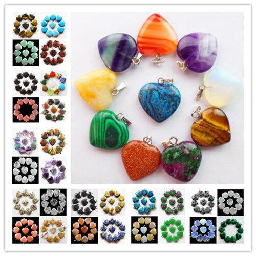 10pcs Beautiful Mixed Gemstone Heart Pendant Bead LX-91