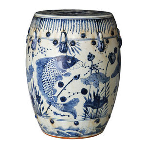 Image Is Loading Vintage Style Blue And White Porcelain Garden Stool