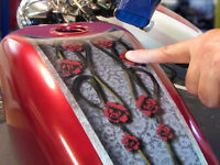 Fuel Tank & Fender Decals Harley & All Motorcycles Roses & Lace Rusted 4pc Set