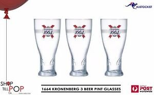 Kronenbourg 1664 3 x Pint 580ml Frosted Collar Embossed BNWOB France Man cave