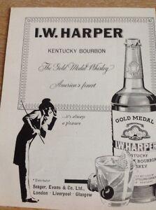 Ephemera-1960-Advert-I-W-Harper-Kentucky-Bourbon-Finest-M479