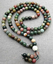 New Tibetan Buddhist 108 Moss Agate Gem Prayer Beads Mala Necklace