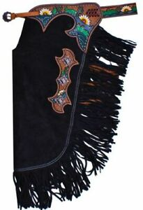 Black Suede Leather Western Horse Saddle Chinks / Chaps Sunflower Design Rodeo
