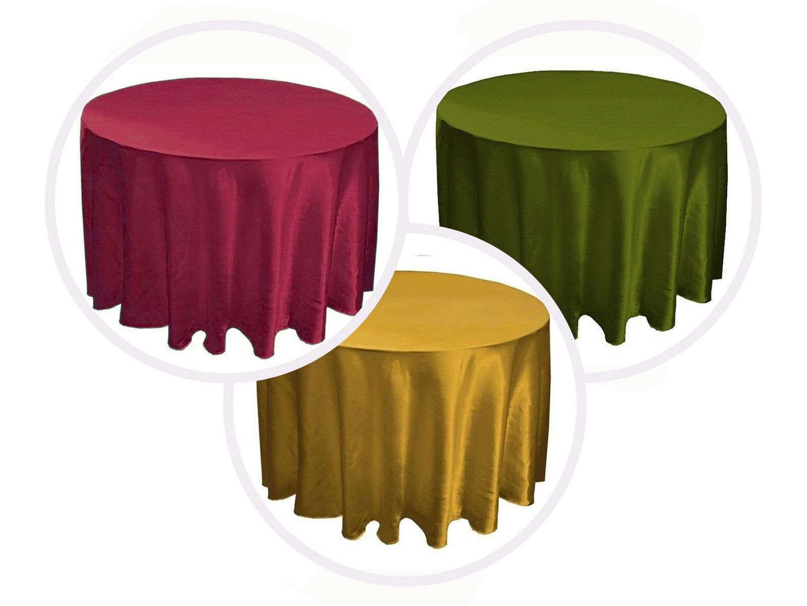 7 Round 90  inch SATIN Tablecloth Overlay WEDDING 25 FarbeS table cover USA SALE