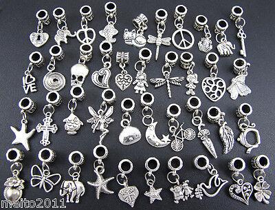 40X Wholesale Lots Mixed Tibetan Silver Charm Beads Fit European Chain Bracelet